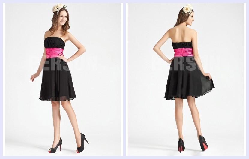 color block short formal dress in black & fuchsia sash