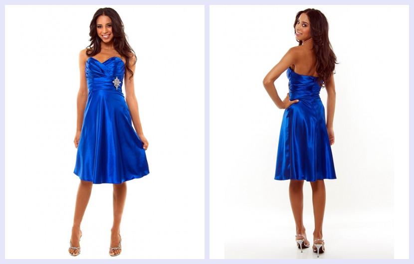 sweetheart blue short formal dress