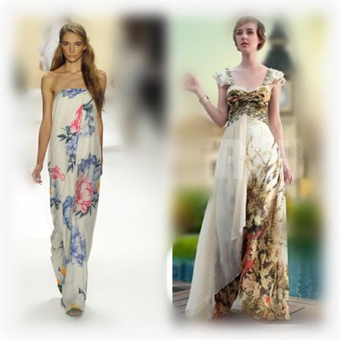 print evening dress