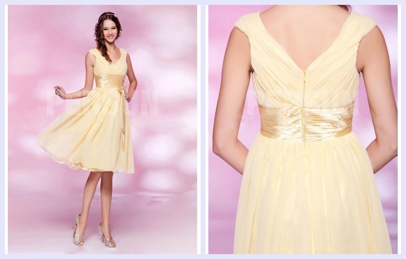yellow knee length formal dress in daffodil