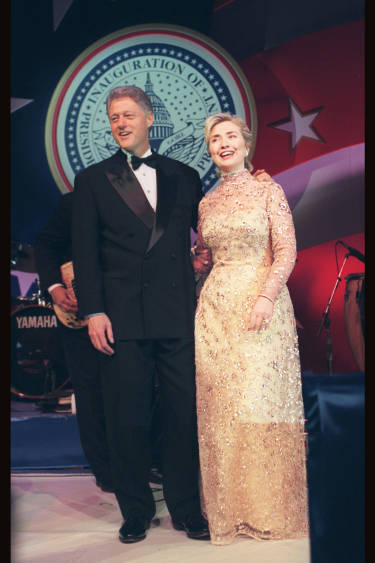 Hillary Clinton in Oscar de la Renta evening dress
