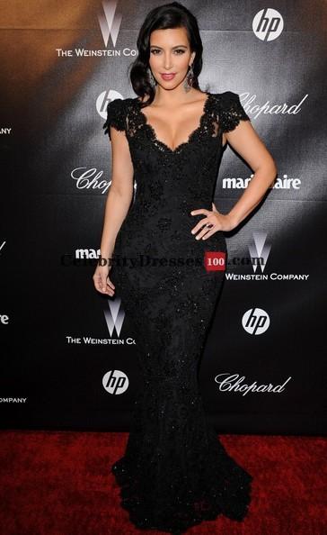 kim-kardashian-black-evening dress