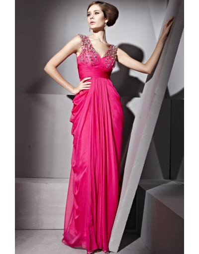 Draping fuchsia long formal dress