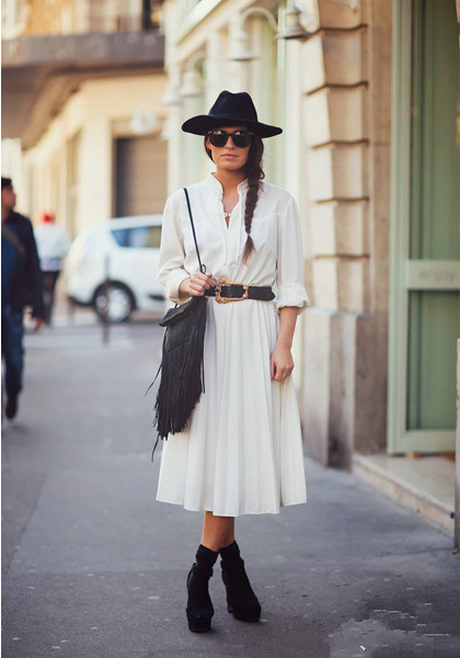 white long dress with black bag