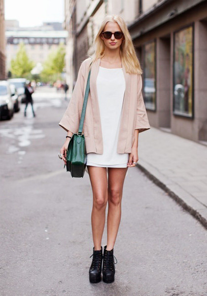 white dress with pink coat outfits