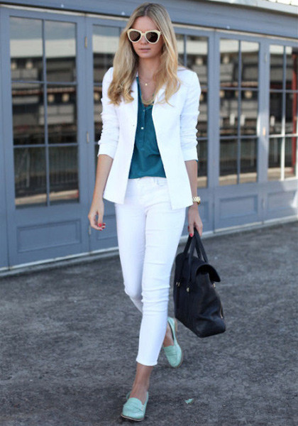 white coat and pants