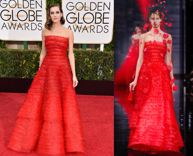 Allison Williams red a line evening dress