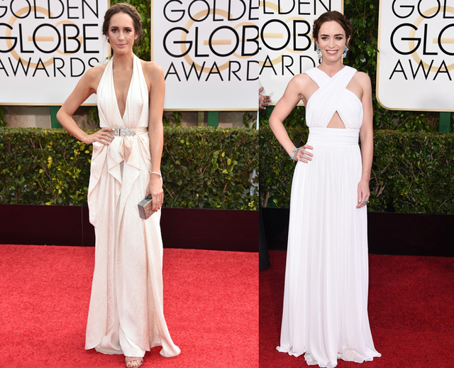 Emily Blunt and Louise Roe's white long cross evening dress