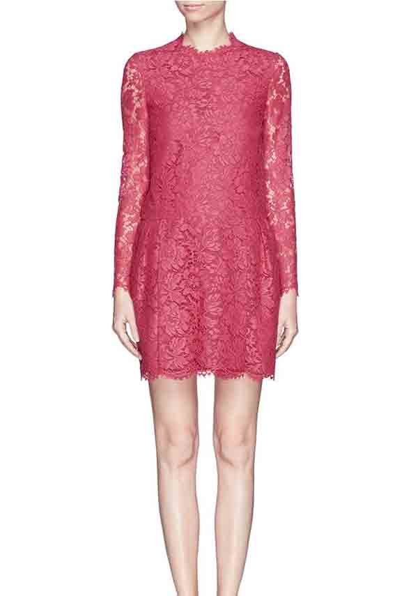 rose red lace bridesmaid dress with long sleeves