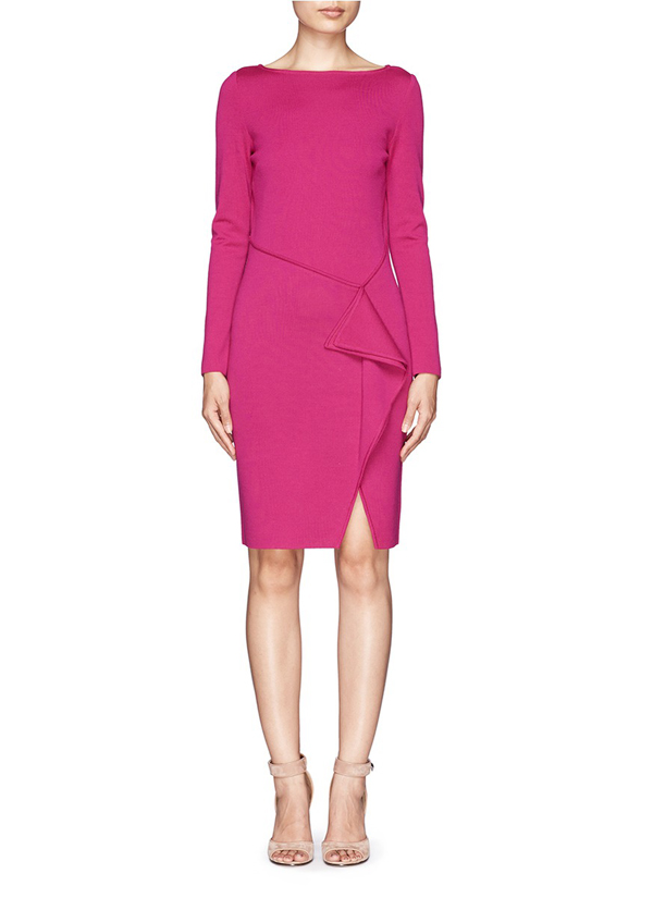 simple fuchsia short formal dress with long sleeves
