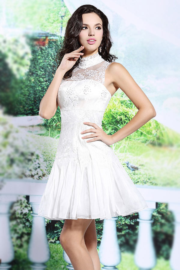 short lace white formal dress
