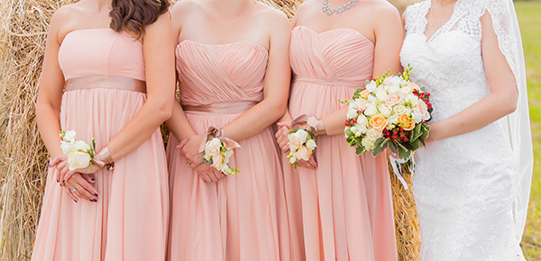 Buy cheap long pink bridesmaid dresses online