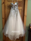 A line Empire Strapless Sequins Beading Tassel Tulle Long School Formal Dress