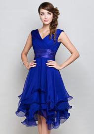 Knee length Formal dresses in Royal blue Tencel