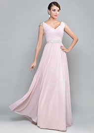 V neck Pink Formal Gownn Full length